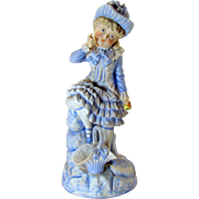 Victorian-style Bisque Statue of Girl Holding Apple - 1940's