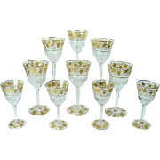 Set of 10 Signed Val St Lambert Cut Glasses with Gold Inlay