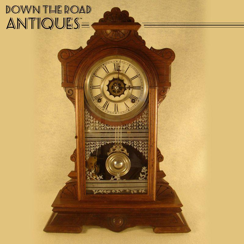 Walnut Victorian Gingerbread Waterbury Clock - 1880's