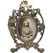 Victorian Iron Picture Frame with Portrait of Young Girl - 1890's