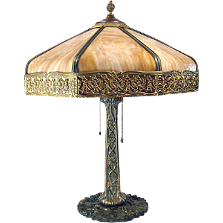 Large Eight Panel Art Glass Table Lamp - 1920's