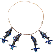 Sterling Enameled Fish Necklace - 1910
