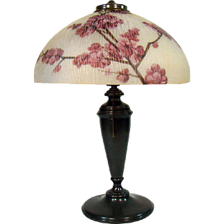 Pittsburgh Electric Table Lamp with Reverse-Painted Cherry Blossom Shade and Rare Textured Finish - 1920's