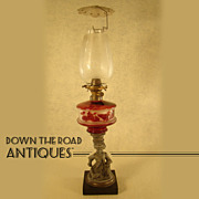 Figural Kerosene Lamp with Ruby Overlay and Etched Shade - mid 19th century