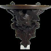 Black Forest Walnut Carved Wood Shelf with Owl - 1880's