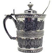 Silver Plated Mustard Condiment with Glass Insert - 1880's