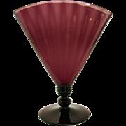 Signed Steuben Amethyst Glass Ribbed Fan Vase