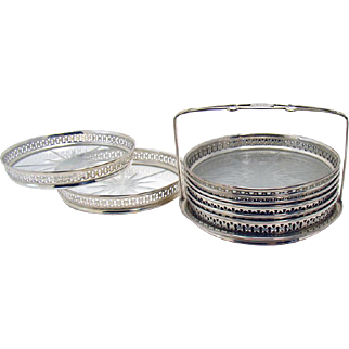 Sterling and Cut Glass Coaster Set