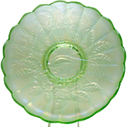 Signed Northwood Ice Green Carnival Glass Ice Cream Bowl with Peacock and Urn