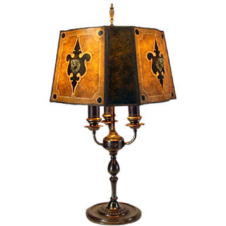 Signed Rembrandt Arts & Crafts Electric Table Lamp with Mica Shade - 1920's