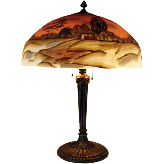 Reverse Painted Scenic Table Lamp - 1920's
