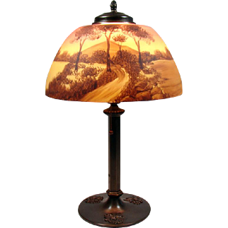 Phoenix Reverse-Painted Table Lamp with Embossed Base - 1920's