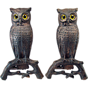 Cast Iron Owl Andirons with Blown Glass Eyes - c.1887