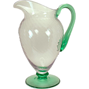 Steuben Spiral-Ribbed Pomona Glass Water Pitcher