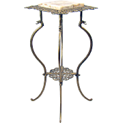 Cast Iron and Marble Victorian Fern Stand with Dragon Heads - 1890's