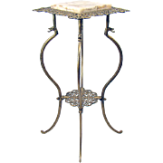 Cast Iron and Marble Fern Stand with Dragon Heads - 1890's Victorian