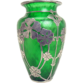 Diamond Quilted Green Glass Vase with Sterling Silver Overlay - 1920's