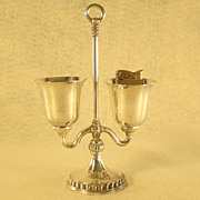 Evans Silver Plated Lighter and Cigarette Holder Combination