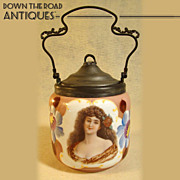 Bristol Portrait Glass Biscuit Jar - 1880's