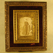 Victorian Ornate Picture Frame with Woman's Photo - Velvet Interior - Red Tag Sale Item