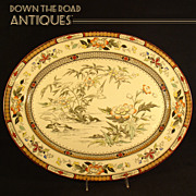 Large English Polychrome Serving Platter - 1880's