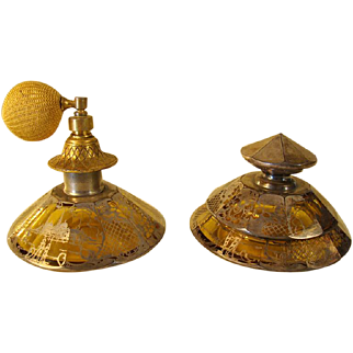 Matching Perfume & Powder Jar with Sterling Overlay - 1910