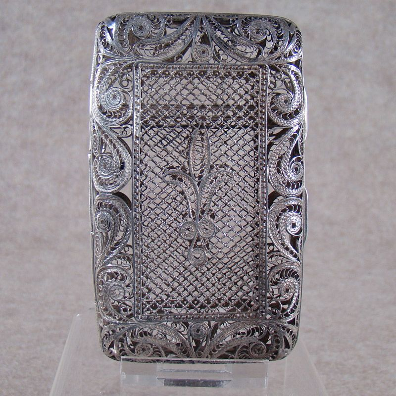 Russian Sterling Ladies Cigarette Holder - Filigreed