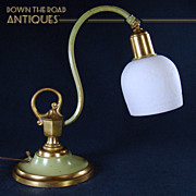 Gilt and Painted Boudoir Lamp with Acid Etched Shade - 1910's