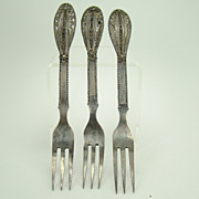 Set of Three Sterling Filigreed Forks - 1920's