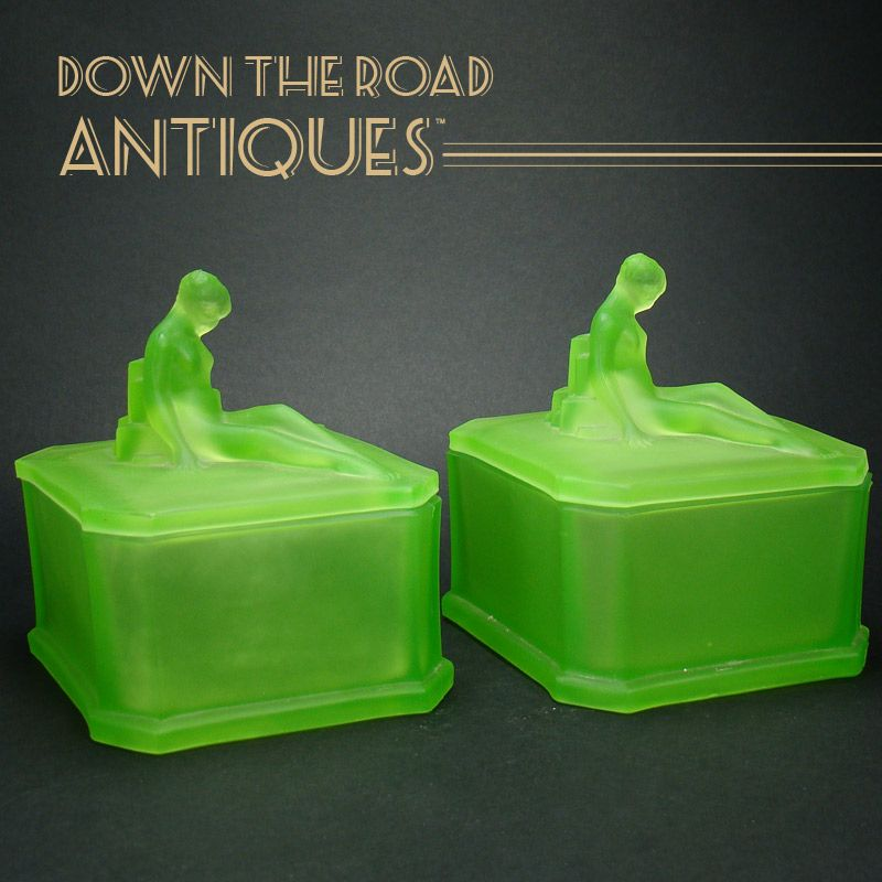 Art Deco Vaseline Figural Dresser Jars (Pair)