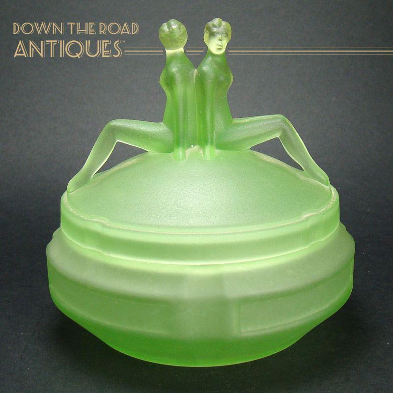 Vaseline Figural Nude Powder Jar