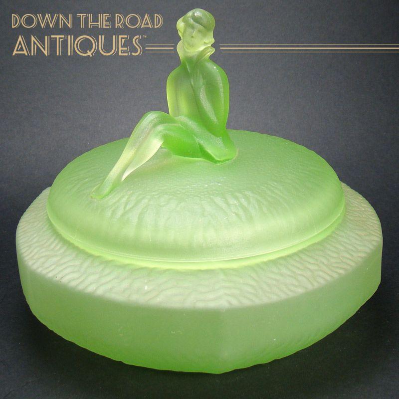 Large Vaseline Art Deco Powder Jar with Figural Handle
