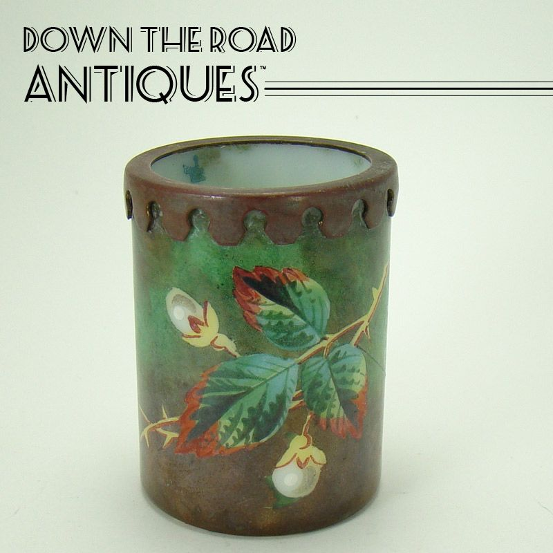 Hand Painted Enameled Opalene Toothpick Holder with Bronze Mount