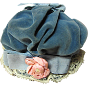 Old velveteen bonnet for German or French antique doll