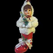 SFBJ Paper Mache Girl in a Santa Boot