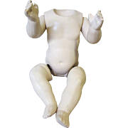"Bent leg baby body for German Celluloid head, Turtle mark, 9""."