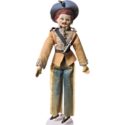 """Cloth Soldier, Molded face,  Boudoir type, 17"""" tall, Wonderful old uniform"""