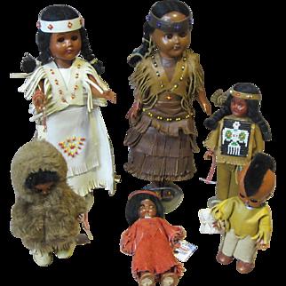Group of 6 Native American Souvenir dolls, 1960's, very nice