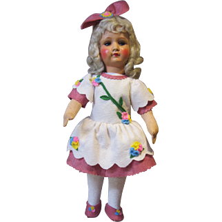 """Armand Marseilles painted bisque girl, Marked 450, 18"""" tall"""