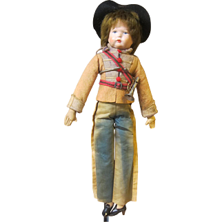 """Soldier, Boudoir or Bed doll type, German head, 17"""" tall"""