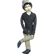 """Gentleman bed or Boudoir doll, smoker, French, 26"""" tall"""