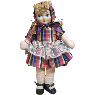 Molley's or Georgene type molded face girl in Plaid