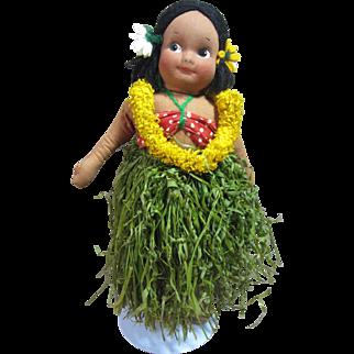 "Hawaiian molded face cloth doll, Georgene or Molley's 14"""