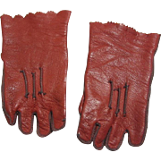 Leather gloves for French or German antique bisque doll