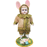 """German all bisque as an Easter bunny, 6"""" tall"""