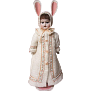 """German Bisque shoulder head in an Easter bunny outfit, 12"""""""