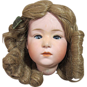 """Gebruder Heubach Head only, Pouty, Glass eyes, 10"""" circumference,. TLC"""