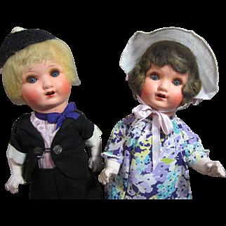 """Papier Mache Toddler  pair, German, 20"""" tall"""