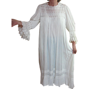 Victorian lady's nightgown, embroidered trim