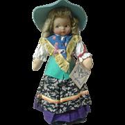 Molly-es cloth doll, molded face, all original, tagged